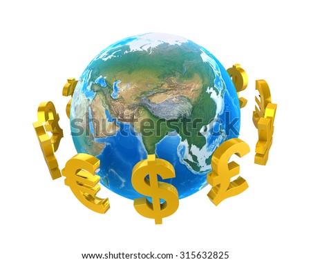 Global Currencies Around a Globe - stock photo