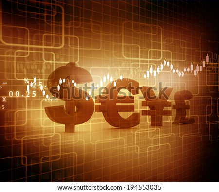 Global Currencies, stock market chart.	 - stock photo