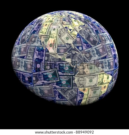 Global currency dollars with negative effect illustration - stock photo