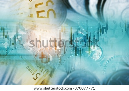 Global Currency Trading Concept Illustration. European Cash Money and Line Graphs.  - stock photo