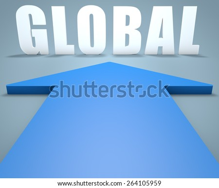 Global - 3d render concept of blue arrow pointing to text. - stock photo