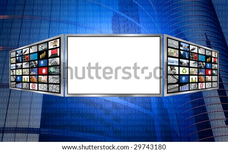 Global 3d screen multimedia monitor tech concept, white copy space [Photo Illustration]