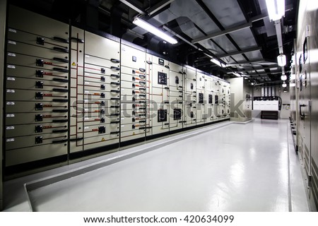 Global data center walkway between rack cabinets modern industrial IT world communications and internet - stock photo