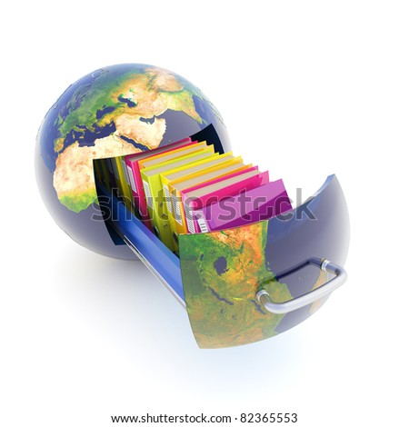 Global data storage - stock photo