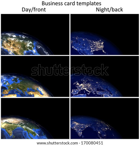 Global day/night business card templates. 300 dpi, 3.5 x 2 inch format with 1/8 inch bleed area. Elements of this image furnished by NASA. - stock photo