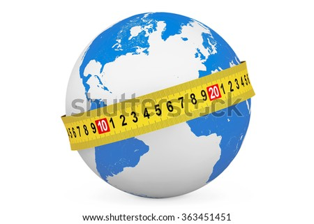 Global Diet Concept. Earth Globe with Measuring Tape on a white background