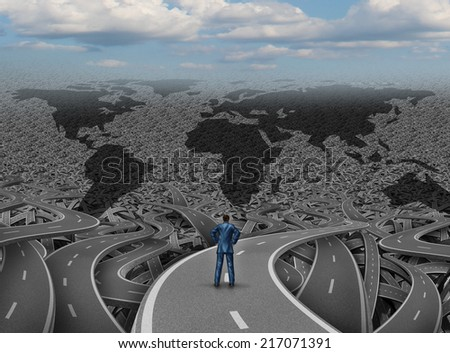 Global direction and world businessman road concept as a group of tangled highways with a confused man standing on a path as a business and economy metaphor for international strategy and planning. - stock photo