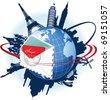 Global e-mail concept. Raster version of vector illustration. - stock photo
