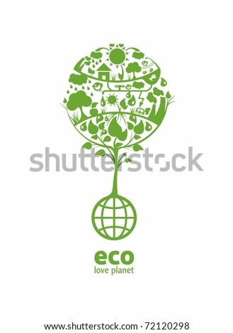 Global ecology with place for text(example eco, love planet) - stock photo