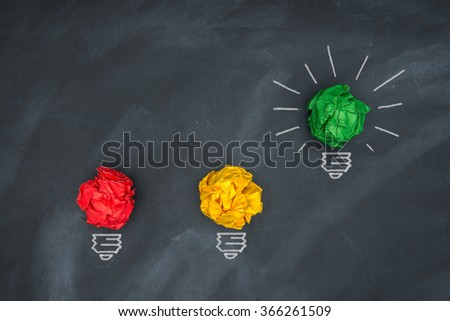 Global economic bright green light, colorful Paper Ball on Blackboard and lightbulb  shape