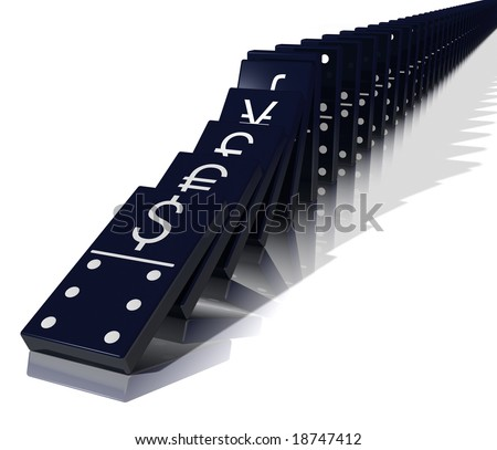 Global economic crisis illustrated by falling black dominoes with major currency symbols stamped on them. - stock photo