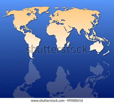 global economy concept with world map in blue - stock photo