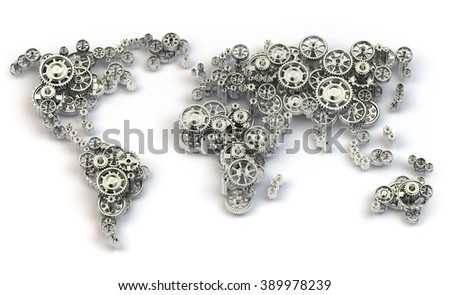 Global economy connections and international  business concept. Map of the world from gears. 3d - stock photo