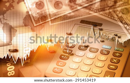 Global economy graph and US currency as finance concept - stock photo