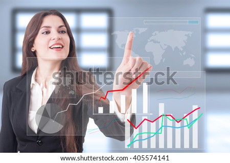 Global economy growth as futuristic technology concept with business woman pressing button on transparent touch screen - stock photo