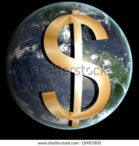 Global Economy This picture of the earth with a dollar sign on it represents the Global Economy - stock photo