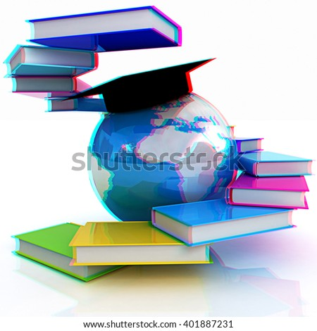 Global Education. Anaglyph. View with red/cyan glasses to see in 3D. - stock photo