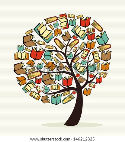 Global education concept tree made with books.  - stock photo