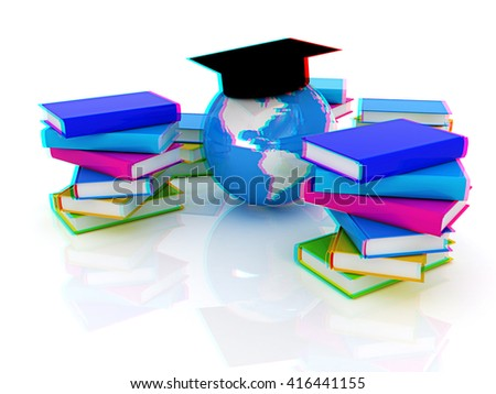 Global Education. 3D illustration. Anaglyph. View with red/cyan glasses to see in 3D. - stock photo