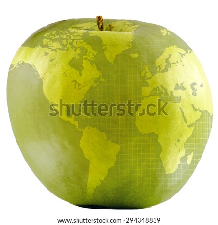 Global Education or Apple World. Map superimposed over green apple. - stock photo