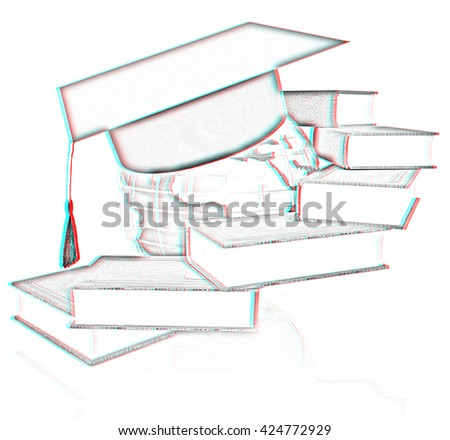 Global Education. Pencil drawing. 3D illustration. Anaglyph. View with red/cyan glasses to see in 3D. - stock photo