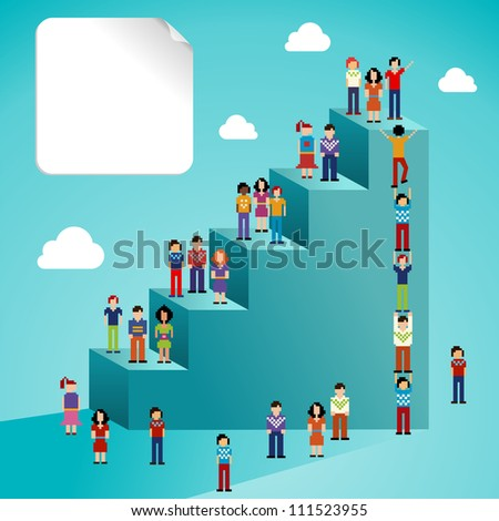 Global expansion of social network people staircase infographic. - stock photo