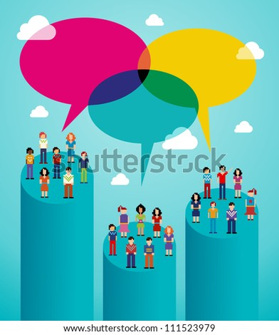 Global expansion of social network population interaction using cloud computing. - stock photo