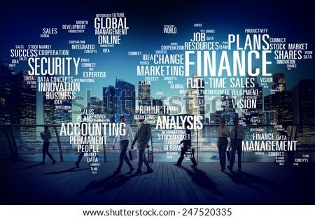 Global Finance Business Financial Marketing Money Concept - stock photo