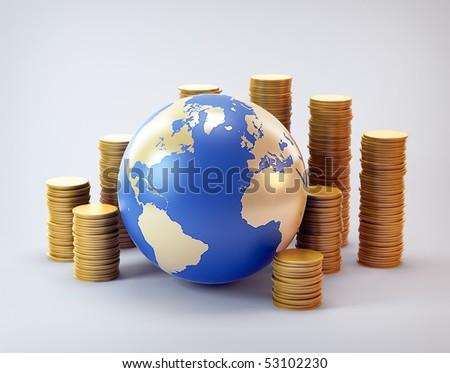 Global finance industry concept illustration - stock photo