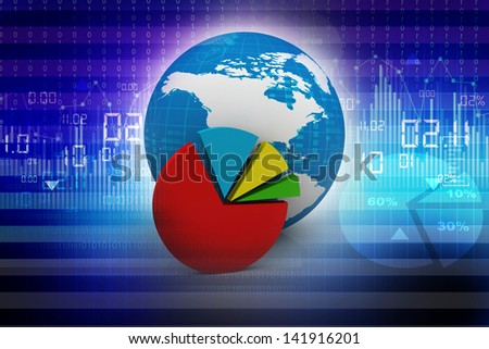 Global financial charts and graphs illustration