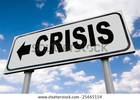 Global financial crisis billboard - stock photo