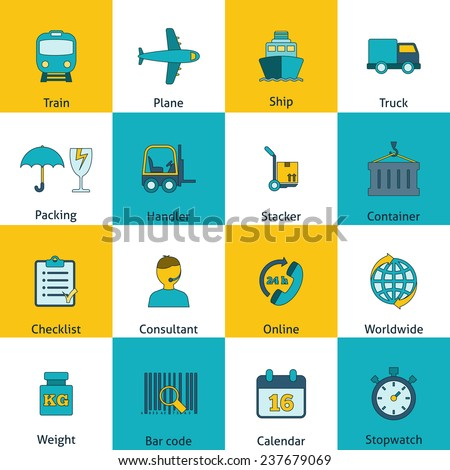 Global freight railway transportation logistics flat icons set with train container delivery operator abstract isolated  illustration
