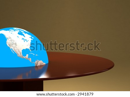 global glowing earth in center of wood table