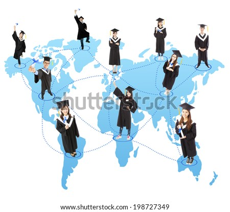 global graduation Student social network - stock photo