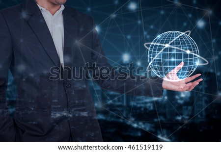 global graphic on hand business man,Technology Communication and business concept
