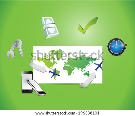 global high-tech business illustration design over a green background