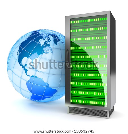 Global hosting. Internet server concept. Elements of this image furnished by NASA. - stock photo