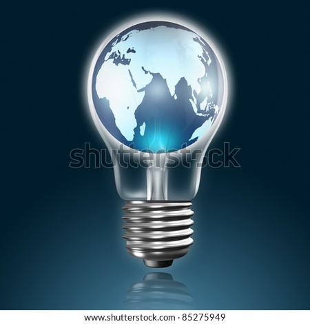 global in light bulb - stock photo