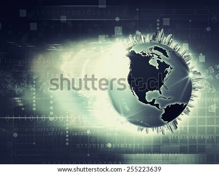 Global information network, abstract techno backgrounds - stock photo