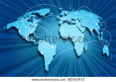 Global internet connections around the world connecting social media sites and web portals from international technology providers and communication hubs. - stock photo