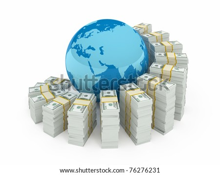 Global investment concept isolated on white - stock photo