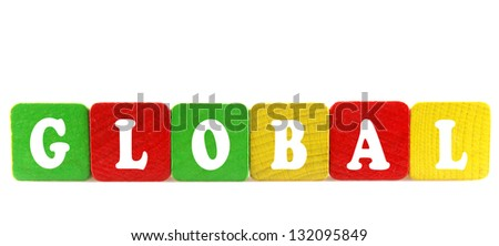global - isolated text in wooden building blocks - stock photo