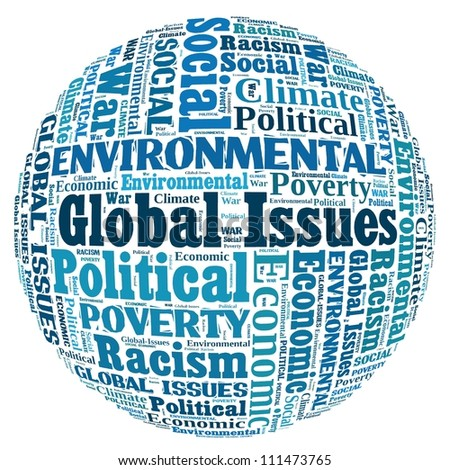 Global Issues in word collage - stock photo