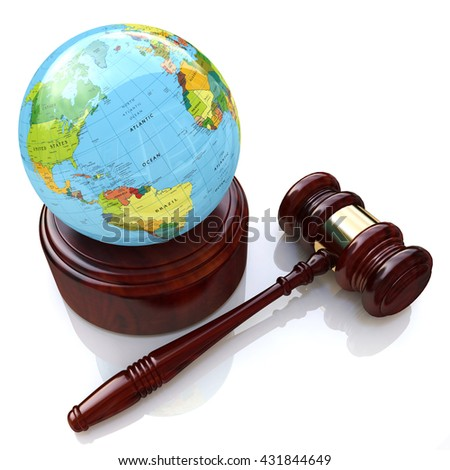 global justice law in the design of information related to law. 3d illustration - stock photo