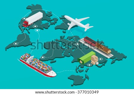 Global logistics network Flat 3d isometric illustration Set of air cargo trucking rail transportation maritime shipping On-time delivery Vehicles designed to carry large numbers of China cargo - stock photo