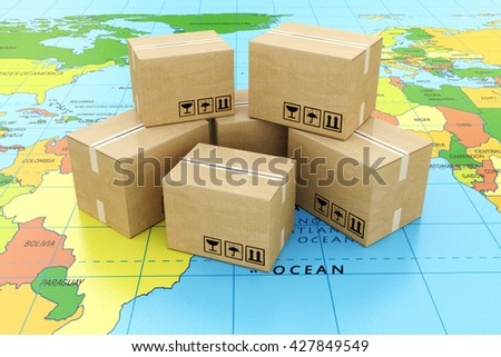 Global logistics, shipping and worldwide delivery business concept: heap of stacked corrugated cardboard boxes with parcel goods on the world map. 3d illustration - stock photo