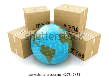 Global logistics, shipping and worldwide delivery: Earth planet globe surrounded by heap of stacked corrugated cardboard boxes with parcel goods isolated on white background. 3d illustration - stock photo