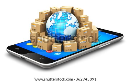 Global logistics, shipping, worldwide delivery and online commerce internet web business concept: Earth globe and heap of stacked cardboard boxes on smartphone or mobile phone isolated on white