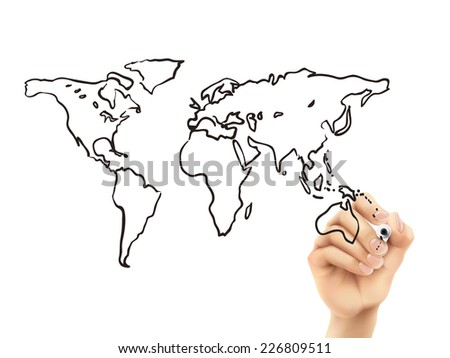 global map drawn by 3d hand over white background - stock photo