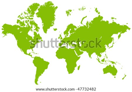 Global map, isolated on a white. - stock photo
